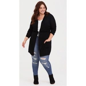 Torrid Women Drawstring Hooded Cardigan Black